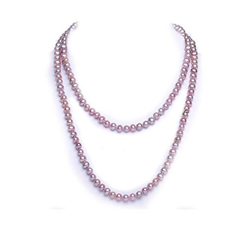 JYX Pearl Long Strand Necklace 8mm Lavender Flat Round Freshwater Pearl Necklace Sweater Necklace 48' (Lavender)