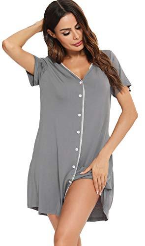 Vlazom Camisón Mujer Verano Pijama Cuello En V Manga Corta Camisones para Mujer Cómodos Ropa de Dormir Loungewear