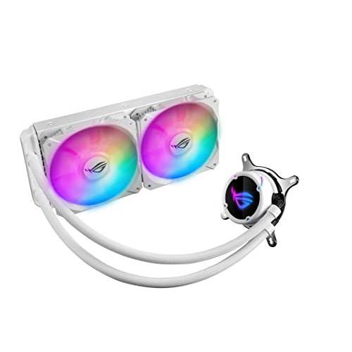 ASUS ROG STRIX LC 240 RGB White Edition, Cooler CPU All-in-One ROG, con Illuminazione Addressable RGB, Aura Sync, Rivestimento Pompa NCVM e Ventola del Radiatore ROG 2 FAN 120 mm