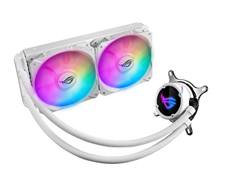 ASUS ROG STRIX LC 240 RGB White Edition, Cooler CPU All-in-One ROG, con Illuminazione Addressable RGB, Aura Sync, Rivestimento Pompa NCVM e Ventola del Radiatore ROG 2 FAN 120 mm