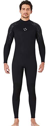 Hombre para Mujer Neopreno Traje De Neopreno, Traje De Buceo De 3 mm Cálido Cuerpo Completo con Trajes Húmedos para Bucear Snorkeling Natación En Canoa, Negro,L