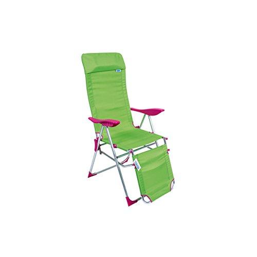 Sedia Sdraio Relax in Alluminio Pieghevole Reclinabile 5 Posizioni con Poggiapiedi e Poggiatesta, Tessuto Oxford Colore Verde, Enrico Coveri Mare Collection