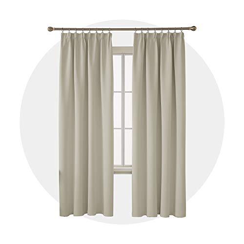 Deconovo verdunkelungsvorhänge thermovorhänge mit Kräuselband gardinen Blickdicht 290x140 cm Creme 2er Set