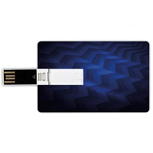 USB-Sticks 32GB Kreditkartenform Dunkelblau Memory Stick-Bankkartenstil Abstrakter gekrümmter Streifen-Zickzack Zickzack zeichnet modernes Design-Dreieck,dunkelblaues Königsblau Wasserdichte stift dau