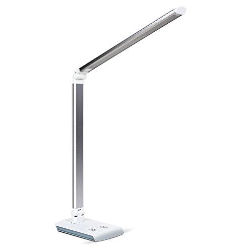 DECKEY 10W LED Lámpara de Escritorio Lámpara de Mesa Lámpara de Mesa Regulable Lámpara de Oficina Giratoria Lámpara de Lectura Lámpara de Libro Lámpara de Trabajo 60 LED ([Plata)