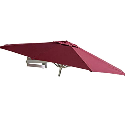 Sonnenschirme Gartenschirm Patio Wandbefestigung - Outdoor Garden Balcony Neigungswinkel, Ø 7ft / 220cm (Color : Wine Red)