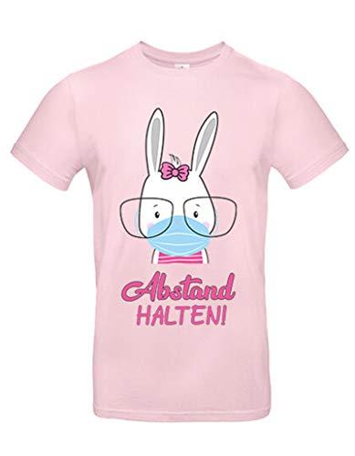 Mein Zwergenland T-Shirt   für Erwachsene   Krise   Hase mit Mundschutz   Abstand halten! (Rosa, XXL - Unisex)