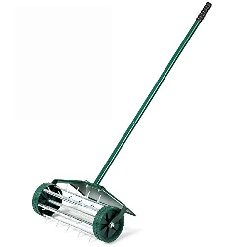 Rolling Lawn Aerator 18-inch Garden Yard Rotary Push Tine Heavy...