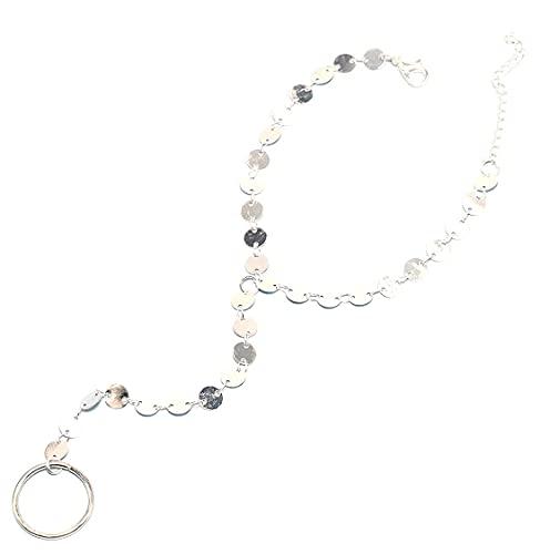 TseenYi Pulsera de moda simple hecha a mano anillo de dedo lentejuelas cadena pulsera Handpiece joyería para mujeres y niñas (plata)