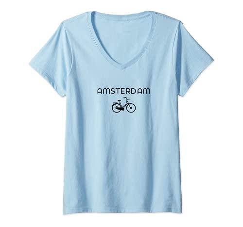Donna Bike Europe on Bicycle: Amsterdam Bicycle design Maglietta con Collo a V