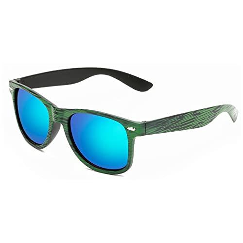 NIUBKLAS Gafas de sol de madera para hombre Gafas de sol retro de sol para mujer Cuadradas Mujer hombre Gafas de diseñador espejo colorido CJ907C4