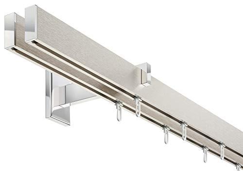 Innenlauf Gardinenstangen Set eckig Long, 2-läufig, Aluminium silbert eloxiert/verchromt, 240 cm, Langer Träger