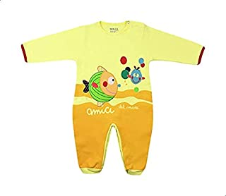 Skills Round-Neck Long Sleeves Fish-Print Bodysuit for Kids - Yellow and Orange, 6-9 Months