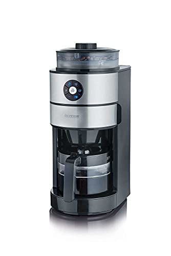 SEVERIN Kaffeeautomat mit Mahlwerk und Glaskanne, Für Kaffeebohnen und Filterkaffee, Timerfunktion, Automatische Abschaltung, bis zu 6 Tassen, KA 4811, Edelstahl/Schwarz