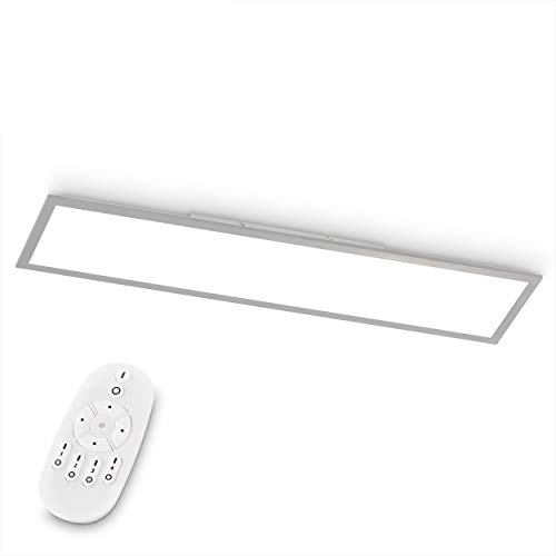 EGLO Plafón LED Bottazzo, Lámpara de Techo de Salón, Panel Plano de Aluminio y Plástico en Plata, Regulable con Mando a Distancia, Cambio de Temperatura de color (Blanco Cálido-Frío ), 100 x 25 cm