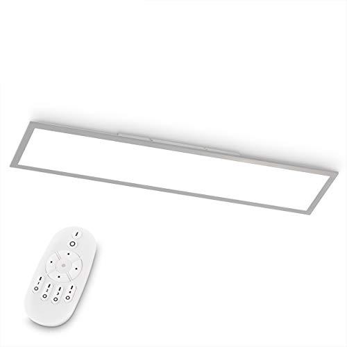 EGLO LED Deckenleuchte Bottazzo, Deckenlampe 100x25 cm, Panel ultraflach aus Aluminium & Kunststoff in Silber, mit Fernbedienung dimmbar, Farbtemperaturwechsel (warmweiß – kaltweiß), Wohnzimmerlampe