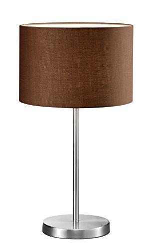lightling modern Hockerleuchte in nickel matt, Stoffschirm braun, 1 x E27 max. 60W, ø 30 cm, Höhe: 55 cm