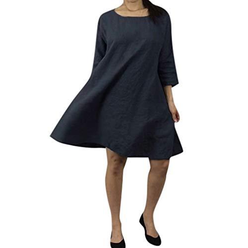 Lialbert Vintage Freizeitkleid Dame Sommerkleid Leinenkleid Boho Mit-Rundhalsausschnitt Swing-Kleid Kurzes Rock 3/4-ÄRmeln Kleider A-Linie Schwarz