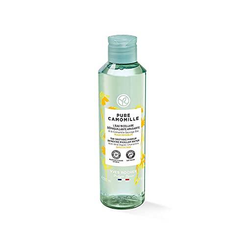 Yves Rocher PURE CAMOMILLE Beruhigendes Mizellenwasser, mit Bio-Kamille, sanfte Pflege für empfindliche Haut, 1 x 200 ml Flacon