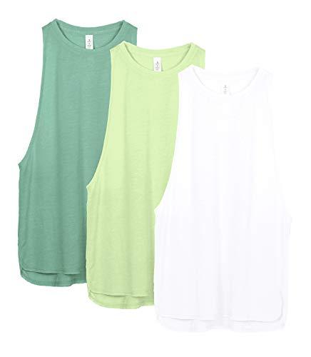 icyzone Sport Tank Top Damen Locker - Yoga Fitness Shirt Racerback Oberteile atmungsaktive (S, White/Green/Pistachio Green)