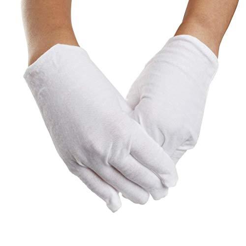 7thLake Lot de 5 Paires de Gants de Travail en Coton Blanc Doux pour Homme et Femme 18 x 9 cm.