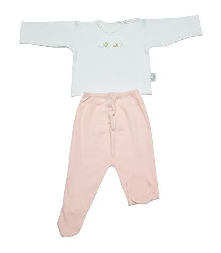 Completo Intimo Neonato Maglietta + Pantalone Ghettina con Piedino Caldo Cotone (Rosa/Bianco, 01 (6-9 Mesi))
