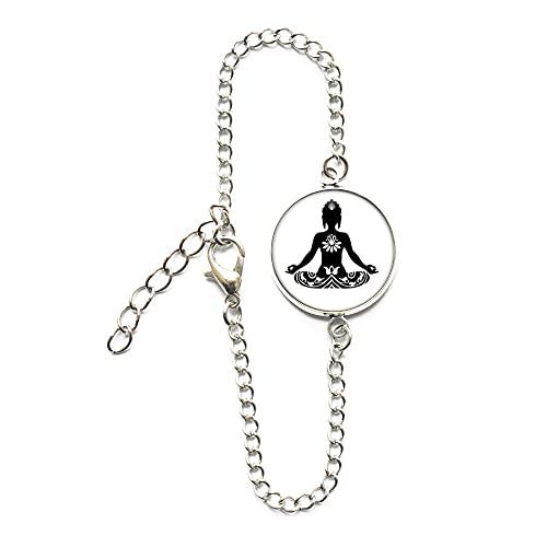 Ying Yang Zen Buda, pulsera de flor de loto, joyería inspiradora, encanto de flor de loto, joyería espiritual, budista, pulsera de flores - Yoga-#111