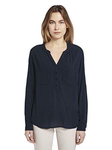 TOM TAILOR Damen Blusen, Shirts & Hemden Bluse mit Raffung Sky Captain Blue,36,10668,6000