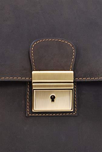 VISCONTI - Lockable Briefcase - Hunter Leather - Push Lock/Secure/Hardwearing/Shoulder/Cross Body/Notebook/iPad/Business/Office/Work Bag - Apollo - 16038 - Oil Brown