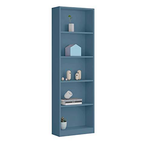 Habitdesign 005422P - Estantería Juvenil 6 baldas, Color Azul WIC, Medidas: 180x52x25 cm de Fondo