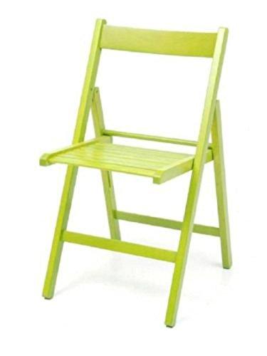 4 sedie pieghevole sedia birreria in legno verniciato VARI COLORI richiudibile per campeggio casa e giardino (VERDE)