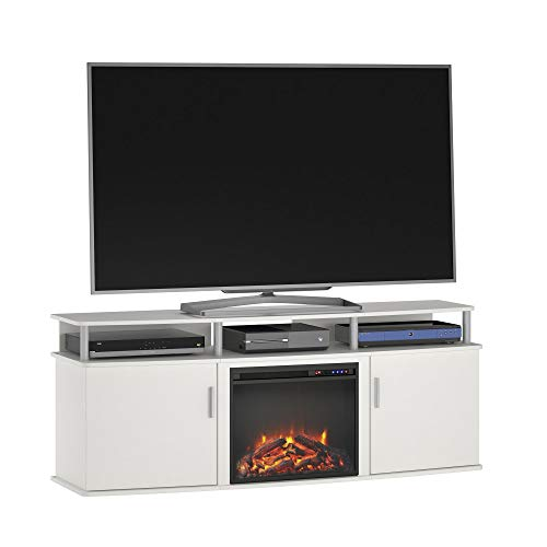 """Ameriwood Home Carson Electric Fireplace TV Console for TVs up to 70"""", White"""