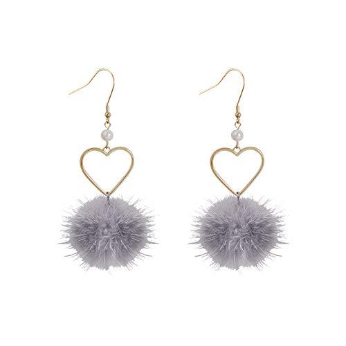 WFZ17 Pendientes de gancho con forma de pompón esponjoso con forma de corazón y perlas sintéticas, joyería para mujeres y niñas