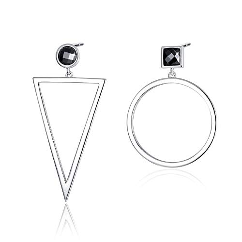 Geometric Women Earrings, 925 Sterling Silver Post Mismatched Big Circle Triangle Dangle Drop Dangling Earrings for Sensitive Ears Mother's Day Gift
