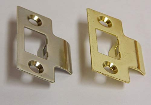 PACK OF 5 STRIKE PLATES For use with Tubular Mortice Door Latches Available in Brass or Nickel Plated (Nickel Plated)