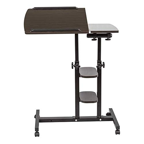 WSJTT Black Mobile Laptop PC Table Desk Stand Wood for Sofa Bed Beside Table on Wheels Height Adjustable Over Bed Table Workstation for Couch Bedroom Home Dorm (Metal: Black)