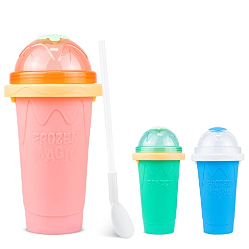 Slushy Maker Cup, Smoothie Ice Slushy Maker Magic Quick Frozen Cool Cup, Slushy Maker Double Layer Squeeze Cup Homemade Smoothie Slushy Milkshake Ice Cool Drinks Maker for Kids Adult (Pink)