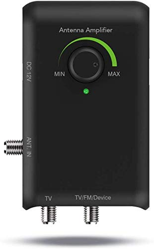 Antop HD Smart Boost Antenna Amplifier,TV Antenna Amplifier Signal Booster, HDTV Booster with Dual Outputs for 2 TVs, HD Digital VHF UHF FM Amplifier,Compatible with Any Non-Amplified Antennas
