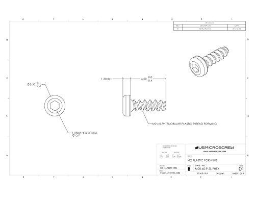 M2 X 6MM Plastic Thread Forming Screw Stainless Steel Pan Head Hex Recess (100 Pcs) - M20-60-P-SS-PHEX