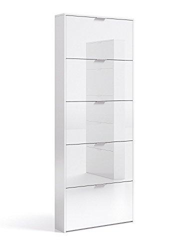 Habitdesign Zapatero con 5 Puertas, Mueble Zapatero Estrecho Dormitorio,Capacidad 15 Pares, Color Blanco Brillo, Medidas: 70 x 180 x 17 cm de Fondo