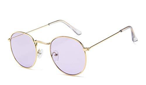 QQGGTongFeng Clásico Lujo Vintage Mirror Diseñador de Marca Gafas de Sol Mujeres/Hombres Classic Redondo Redondo Gafas de Sol UV400 para Exterior (Lenses Color : C10)