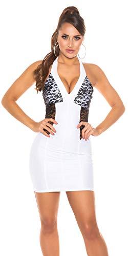 Koucla Party Damen Kleid Wetlook Neck Minikleid mit Spitze (Weiß)