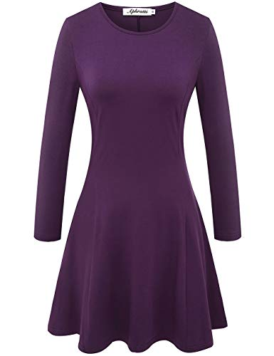 Aphratti Women's Crew Neck Long Sleeve Fit and Flare Casual Skater Dress Medium Purple