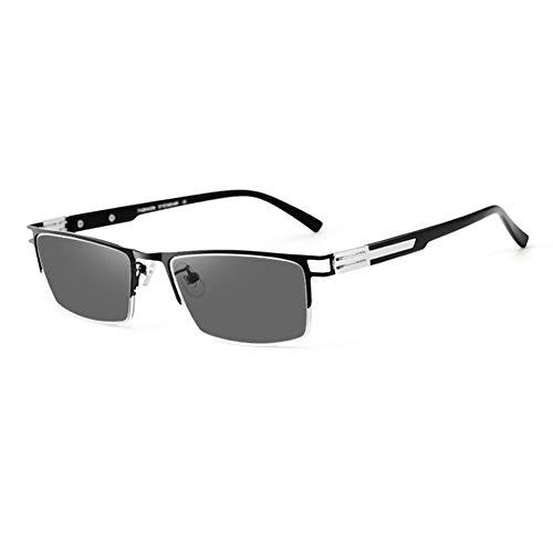 HQMGLASSES Gafas Lectura fotocromáticas multifocal progresivas Hombre TR90, Lente de Resina de Resina aspértica al Aire Libre de Alta definición Anti-Azul Gafas de Sol Diopter +1.0 a +3.0,Negro,+2.0