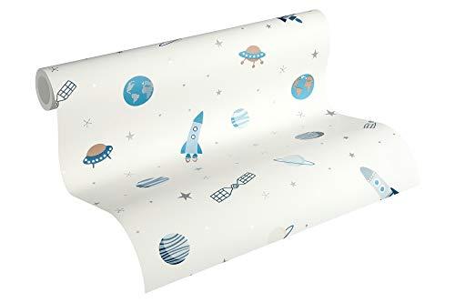 Esprit Kids Papiertapete Space Tapete 10,05 m x 0,53 m blau metallic weiß Made in Germany 358281 35828-1