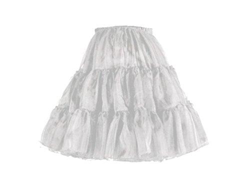 L.O.S 50er 60er Jahre Petticoat, Tüllrock, Dirndl Rock, Unterrock, Hochzeit, Weiß, 32-50, S/M, M/L, L/XL, kurz (S/M)