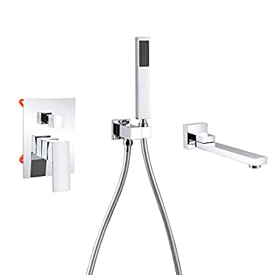 DEOLER Waterfall Wall Mount Tub Faucet with Handheld Shower Swivel Bathtub Faucet Solid Brass 2.5 GPM for Bathroom, Chrome