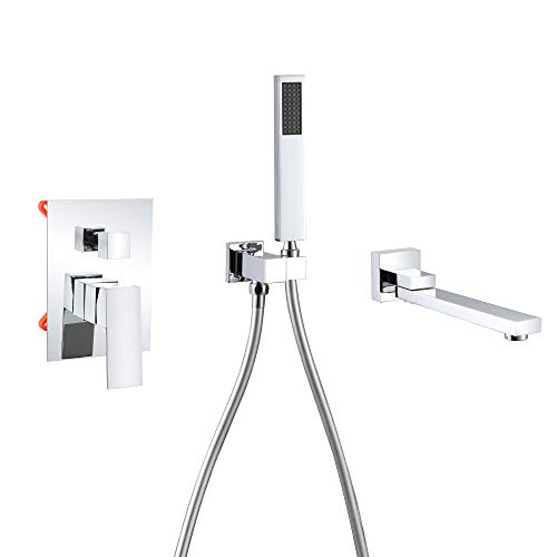 Wall Mounted Bathtub Faucet with Handheld Shower,180°Swivel Tub Faucet with Sprayer Chrome Bathtub Faucets High Flow with cUPC Certified Wall Mount Tub Filler Solid Brass - DEOLER