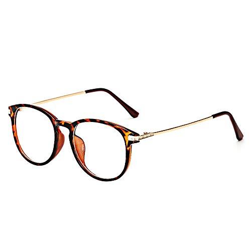 BOZEVON Gafas Falsas para Mujeres Hombres - Gafas de Sol Sin Receta Clásicas Ultraligeras Montura Gafas Vintage Lentes Transparentes para Mujeres y Hombres, Ocre, No es luz azul