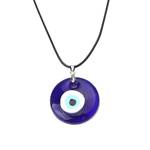oukerst Collar con colgante de cristal de la suerte con ojos azules y protección contra el mal de ojo turco, unisex